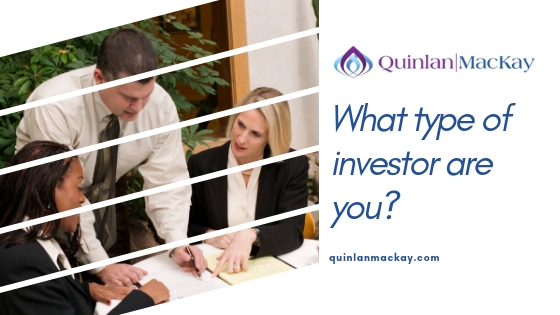What type of investor are you? Business concept with two women and one man meeting to discuss investing options.