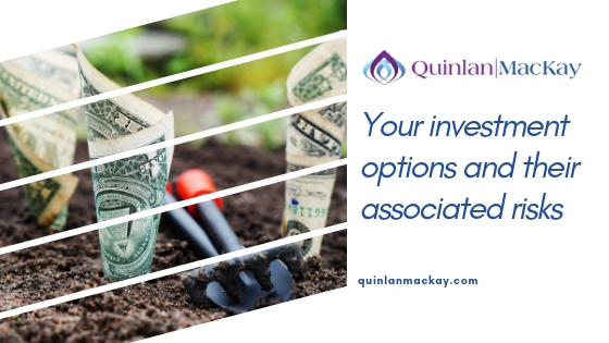 Your investment options and their associated risks. Money growing concept with rolled up dollar bills being sewn like seeds in dirt with small shovel.